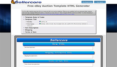 Free EBay HTML Generator Template Listing Generator Sellercore - Ebay background templates